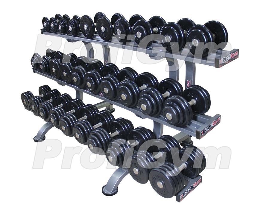 Обрезиненный гантельный ряд profigym от 8,5 до 41 кг с шагом 2,5 кг